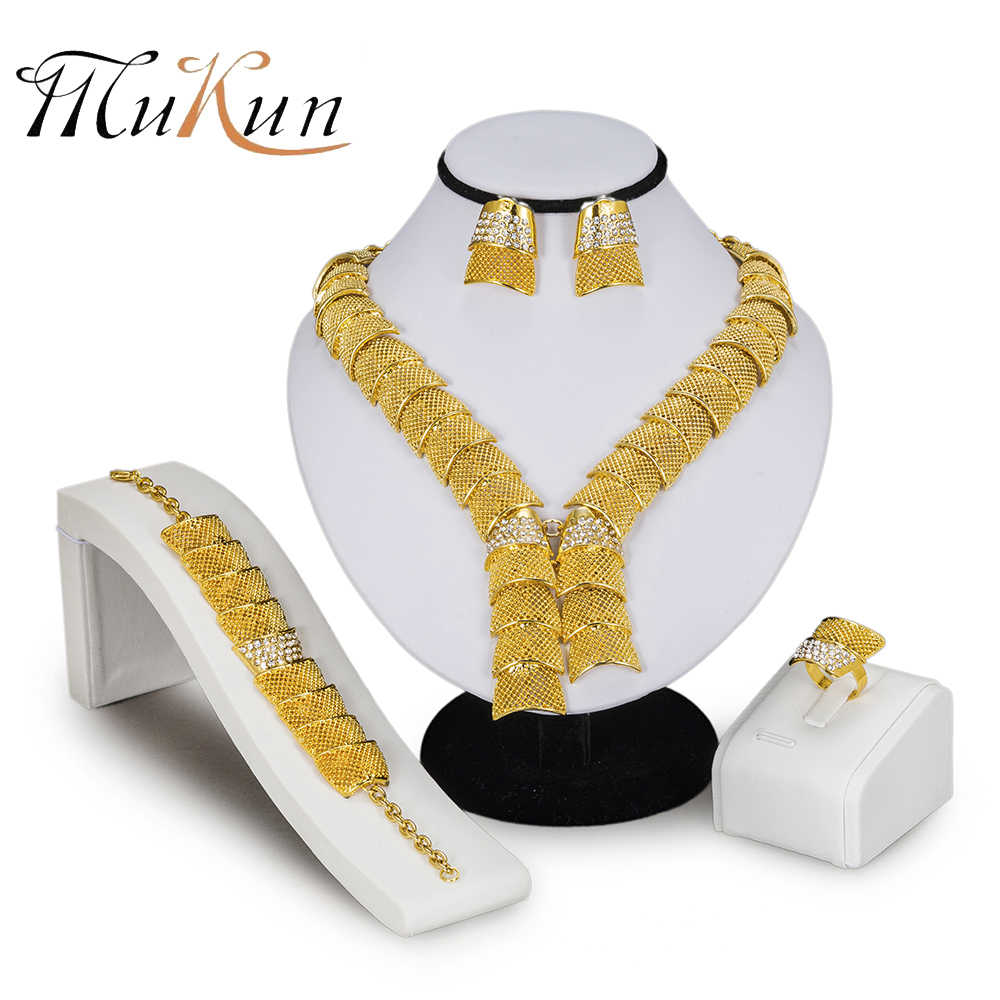 MUKUN 2018 אופנה אפריקאית חרוזים תכשיטי סט מותג דובאי זהב-צבע קריסטל תכשיטי סטים גדול ניגרי חתונה כלה תכשיטים