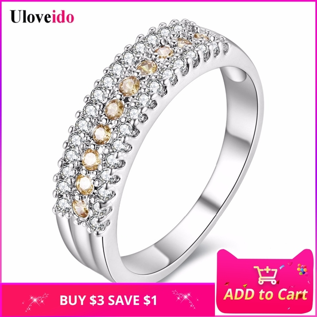 Uloveido Rings for Women Silver Jewelry Crystal Romantic Engagement Ring with Stones Bijoux Anel Masculino Anillos Gifts Y014