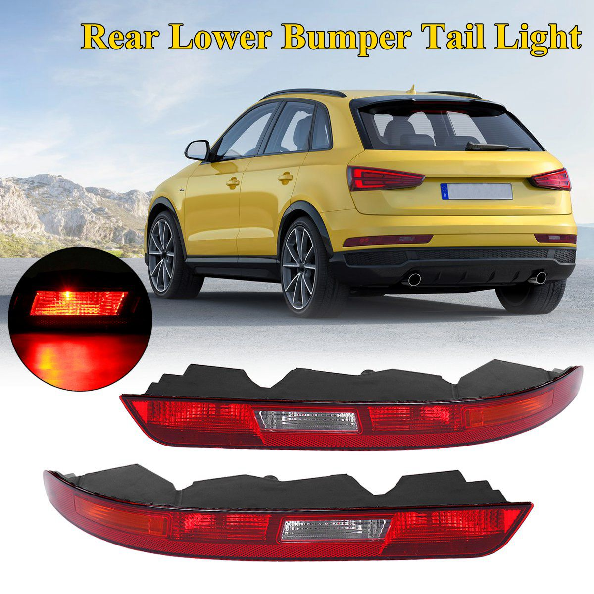 For AUDI Q3 2016 2017 2018 New Left/Right Rear Lower Bumper Fog Light Tail Lights Red Side Tail Light Lower Bumper Tail Lamp external rear taillights bumper left right side fog lights lamp assembly house holder for jeep grand cherokee replacement parts