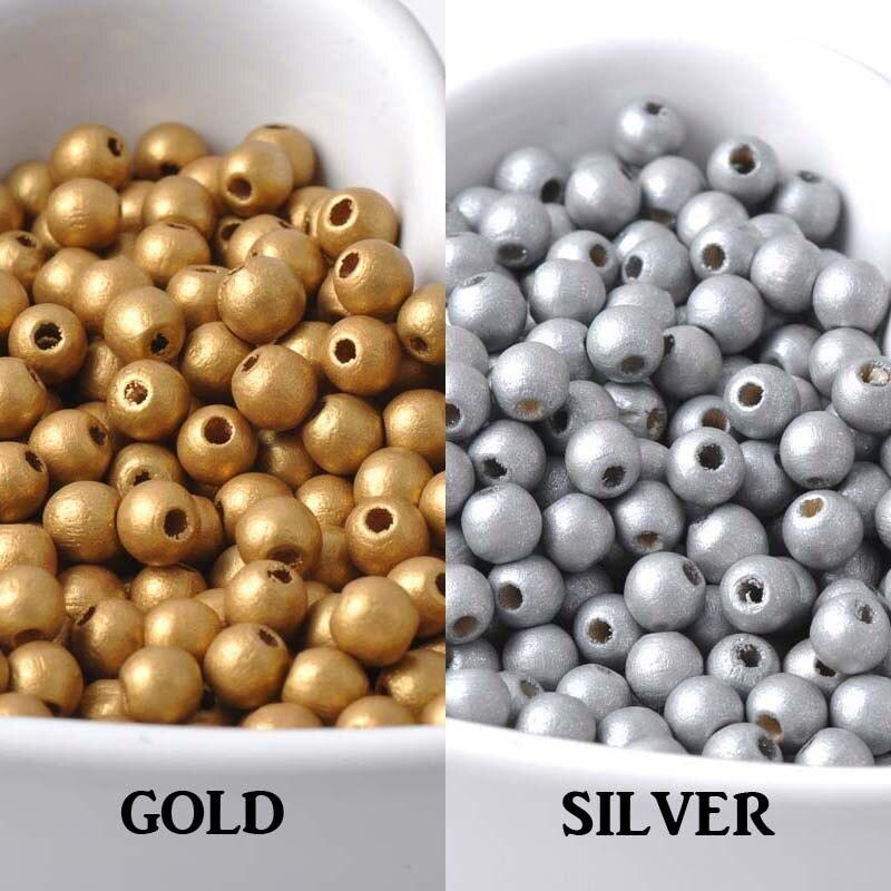 Modestil 6mm 500 Stücke Gold Silber Natürliche Holz Runde Ball Spacer Perlen Für Schmuck Machen Diy 2018 Neue Mt0224x Geschickte Herstellung Perlen