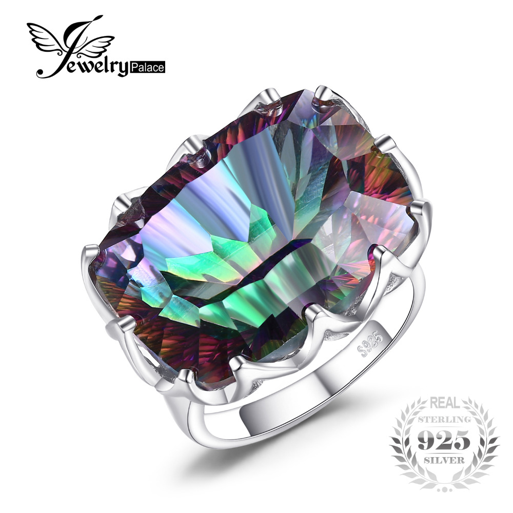 Jewelrypalae Gem Stone 23ct Genuine Rainbow Fire Mystic Topaz Ring Pure Solid 925 Sterling Silver UNIQUE