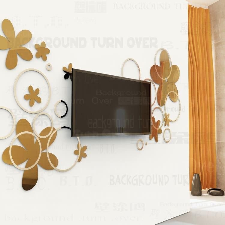 Bricolage diverses couleurs mode créative printemps nature cercle fleur 3D TV mur adhésif miroir mural sticker R017 - 3