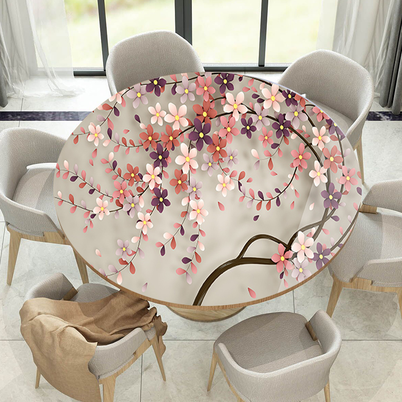 Round 3D Flower Table Cloth Waterproof PVC Flower Table Mat Oilproof Tablecloth Imitation Glass Material