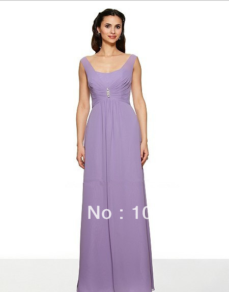 free shipping Poly chiffon lavender color   dress   soft sweetheart V-back rhinestone beaded medallion floor length   Bridesmaid     Dress