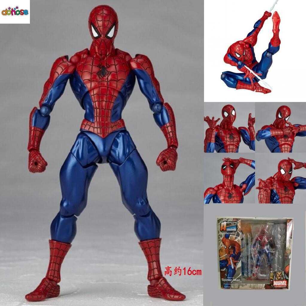 INCRÍVEL Tokusatsu Revoltech YAMAGUCHI Spiderman dos desenhos animados No.1 002 Herói Spider Man Ação PVC Figura Coleção Modelo Toy Kids