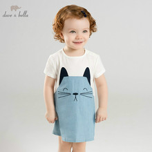 DB10240 dave bella summer baby girl totoro printed dress children lovely dresses infant toddler 100% cotton clothes