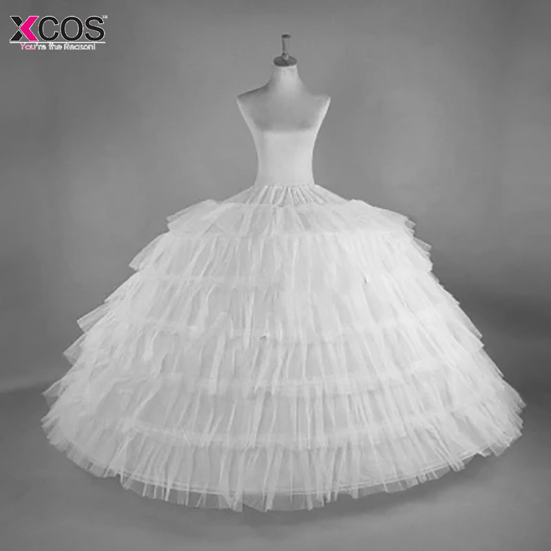 2018 New Hot Sell 6 Hoops Big White Petticoat Super Fluffy Crinoline Slip Underskirt For Wedding Dress Bridal Gown In Stock