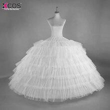 2018 جديد حار بيع 6 الأطواق كبير الأبيض ثوب نسائي سوبر رقيق كرينولين زلة تنورة لحفل الزفاف فستان زفاف في الأوراق المالية