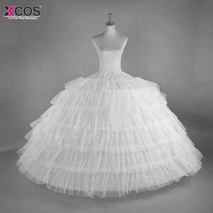 Image 1 - 2018 nouvelle vente chaude 6 cerceaux grand jupon blanc Super moelleux Crinoline Slip sous jupe pour robe de mariée robe de mariée en Stock