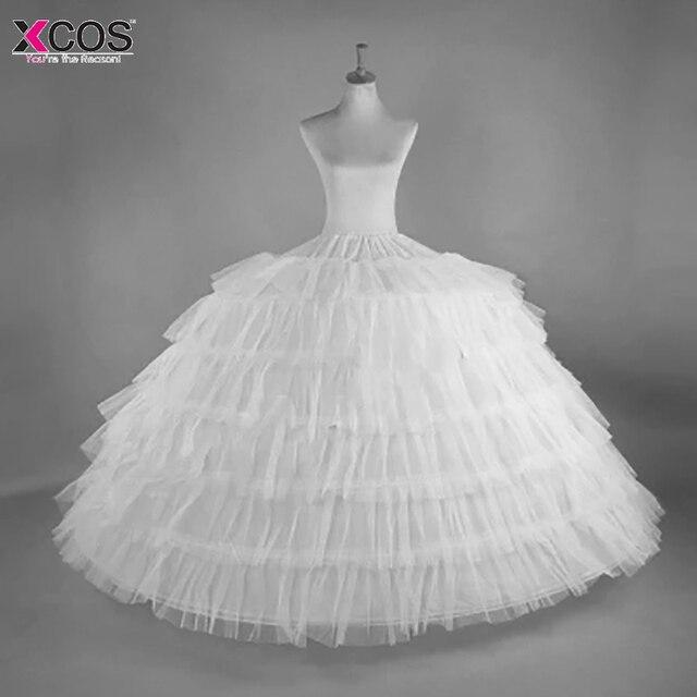 2018 nouvelle vente chaude 6 cerceaux grand jupon blanc Super moelleux Crinoline Slip sous jupe pour robe de mariée robe de mariée en Stock