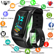 LIGE 2019 New Smart Bracelet Watch Men Heart Rate Blood Pressure Monitor Fitness Tracker Sports Pedometer Band+Box