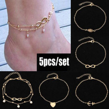 Five styles of fashion Bohemian pearl crystal summer foot anklets jewelry Give A set gift to a friend a beach anklets for women pair of graceful floral circle anklets for women
