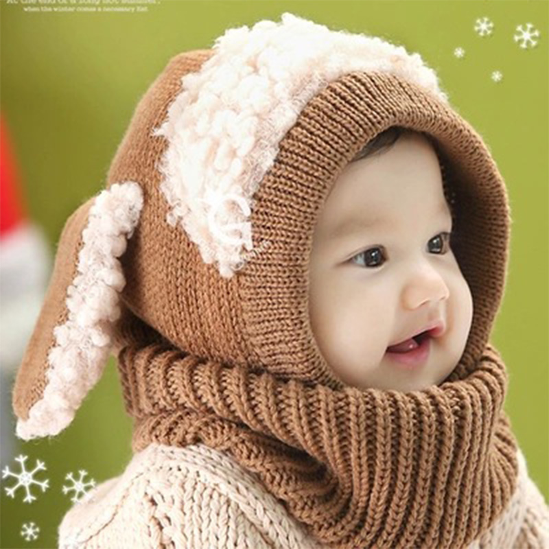 2662a2f33c1 Hot Sale Siamese Puppy Scarf Winter New Baby Hat Wool Hat Winter Hat Beanie  Hat Hooded Scarf Earflap Knit Cap Toddler Cute-in Hats   Caps from Mother    Kids ...