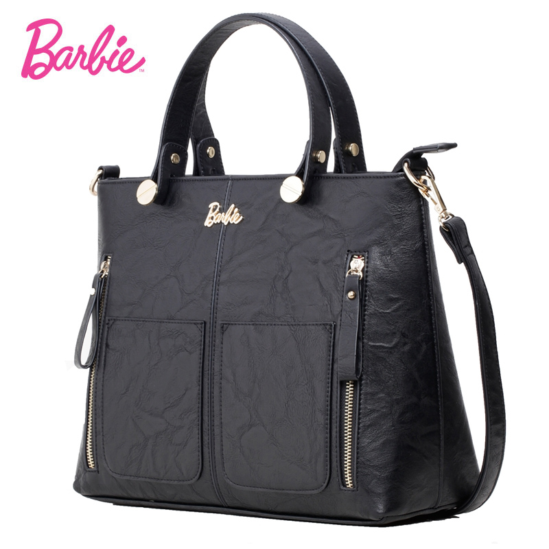 2018 new Barbie Women Shoulder Bag black big Capacity Handbag for girls Modern Bags Cross body Bags Female Trapeze Bag barbie 2018 women s shoulder bag leather simple style black ladies handbag female fashion cross body bags for women