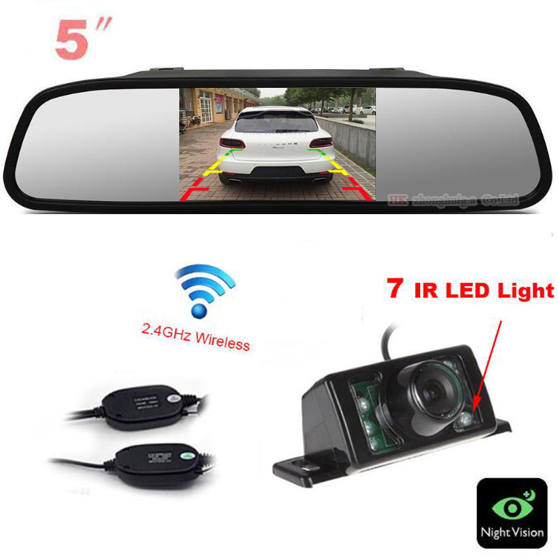 Wireless 5 inch Monitor Mirror Car Rear view Camera BackUp 7 LED IR Reversing Cam Parking Assist For AUDI/BWN/Toyota/VW Any car upgrade wifi in car backup rear view reversing camera vechile wireless cam hd for android ios device for any car styling 12v page 5