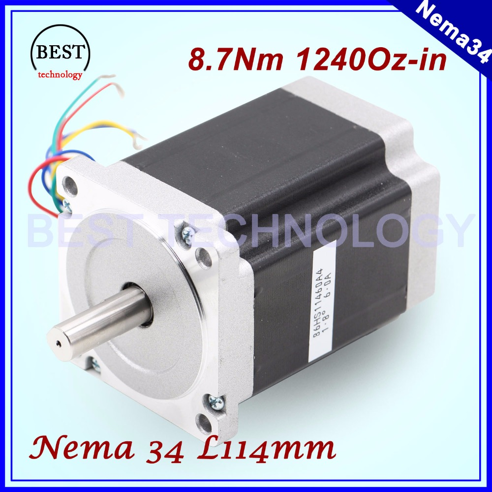 ¡NEMA 34 CNC motor paso a paso 86X114mm 8,7 N m 6A D14mm Nema34 motor 1240Oz-in para la máquina de grabado de CNC de alta par!