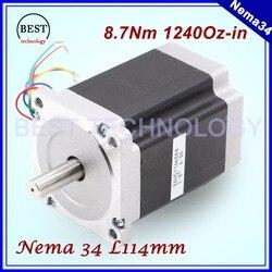 NEMA 34 CNC stepper motor 86X114mm 8.7 N.m 6A D14mm Nema34 stepping motor 1240Oz-in for CNC engraving machine high torque !