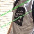 2016 Homens/Mulheres ANTI SOCIAL CLUB T Camisas Roupas KANYE WEST Hip Hop Streetwear Algodão de Manga Curta Casuais Skate encabeça Tee