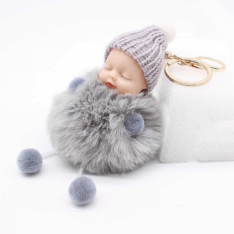 Novo sono bebê boneca chaveiro pompom bola de pele coelho chaveiro chaveiro do carro feminino titular saco pingente charme acessório porte clef