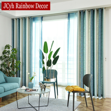 Striped Blackout Curtains for Living Room Colorful Rainbow Linen Bedroom Window Cortinas Rideaux Draps 80%