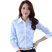 New Korean Lady Fashion Cotton Shirts Plus Size S-4XL Light Blue & White Color Women Casual OL Blouses