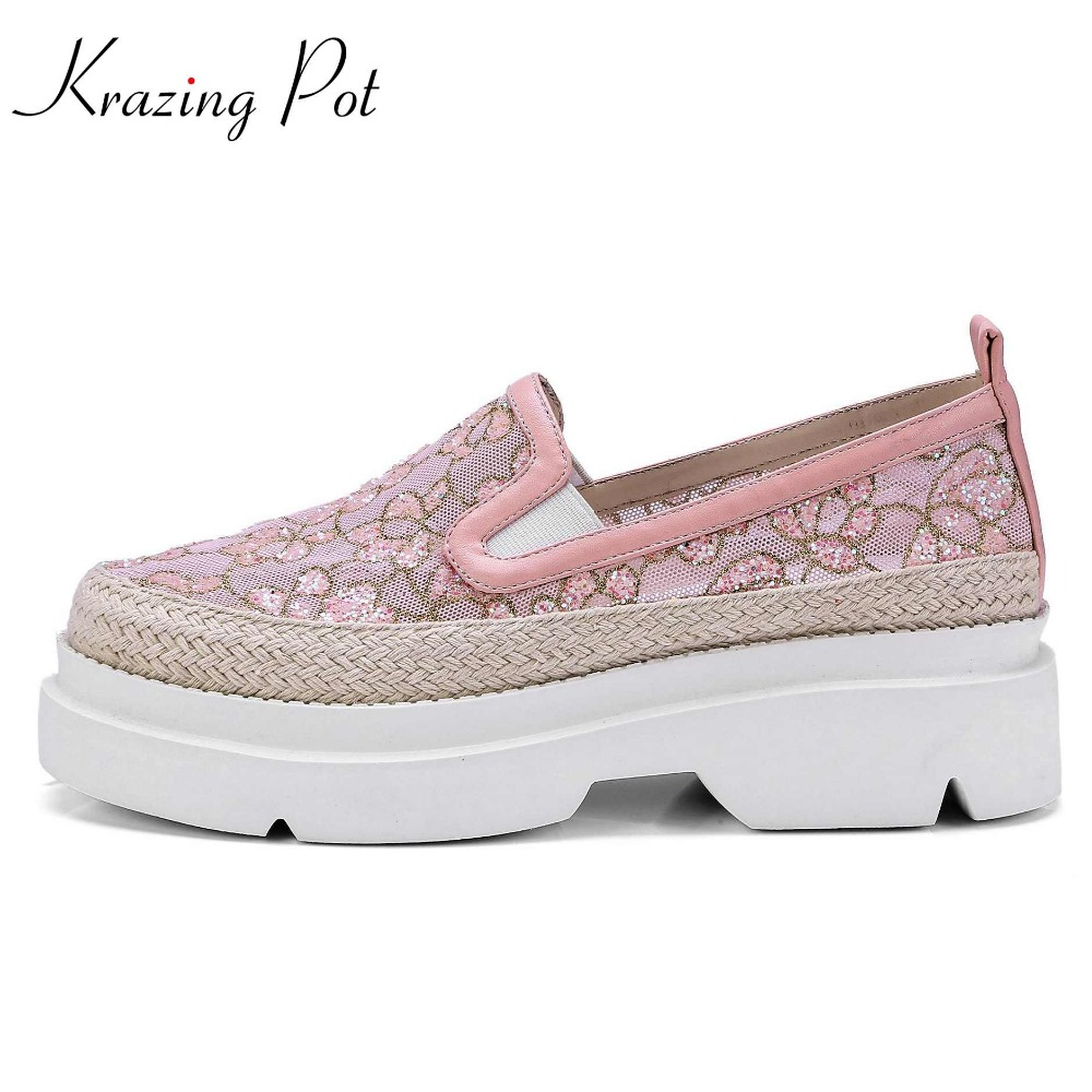 Krazing Pot air mesh superstar round toe sneaker solid causal shoes embroidery oriental women cozy sweet vulcanized shoes L7f3