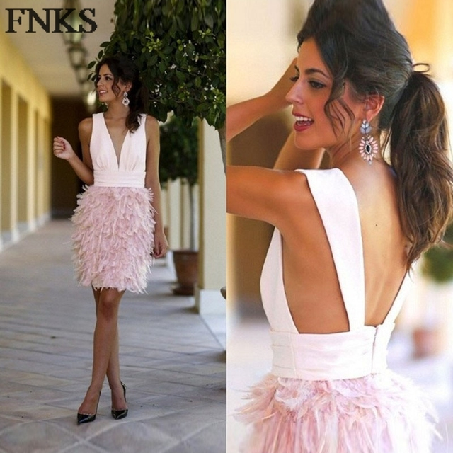 13a33865a Sex Deep V-Neck Mini Short Cocktail Dress Feather Skirt Pink Cocktail Party  Dresses Backless