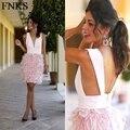 Sexo Profundo Escote en v Mini Vestido de Cóctel Corto Feather Skirt Pink Cocktail Vestidos de Fiesta Sin Respaldo Vestidos Del Partido vestidos de coctel co-5