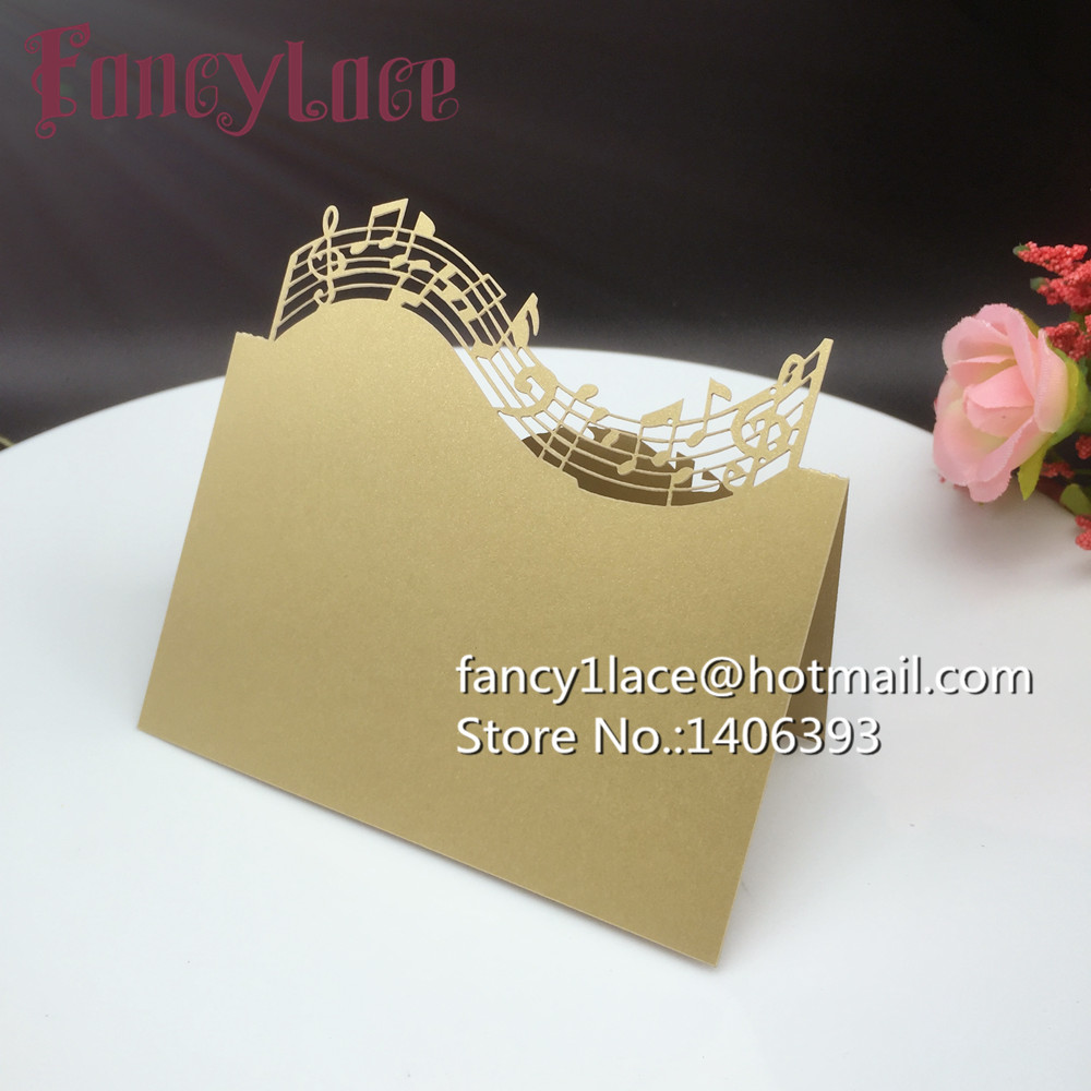 Laser Cut Paper Musical Note Name Place Card Wedding Table Card