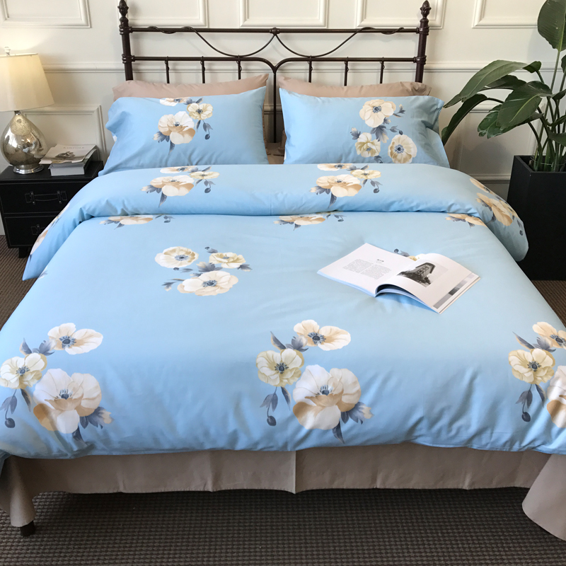 White flowers 4pcs bedding set sky blue