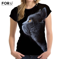 FORUDESIGNS Cute 3D Shorthair Cat Chartreux Print Women T Shirts Stylish Summer Short Sleeve Tops Tees