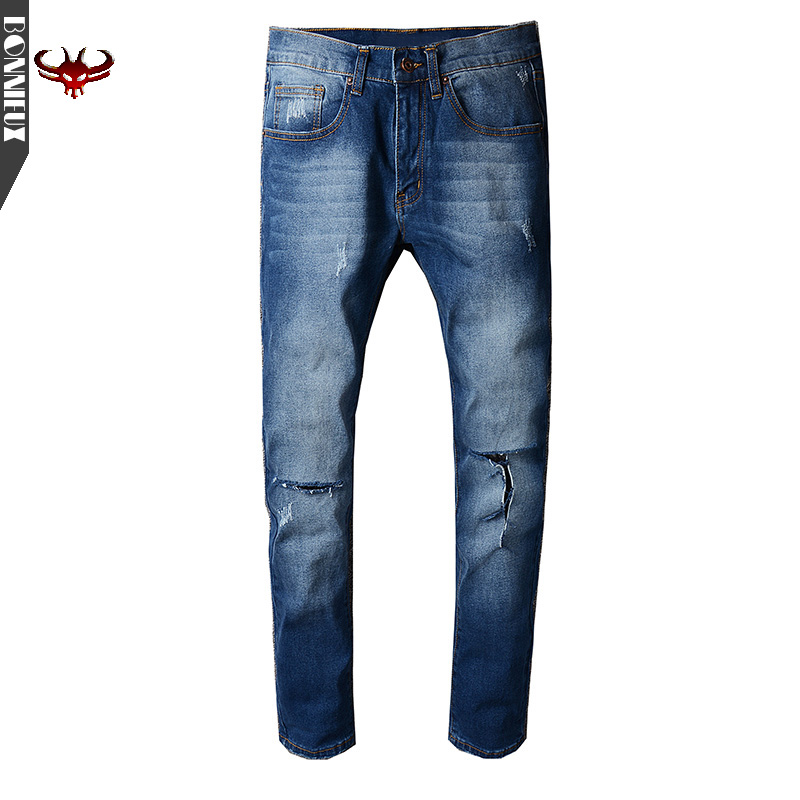 High Quality Men Jeans Casual  Summer Straight Slim Fit Blue Jeans Stretch hole Denim Pants Trousers  Cowboys Young Man Jeans jeans men s blue slim fit fashion denim pencil pant high quality hole brand youth pop male cotton casual trousers pant gent life