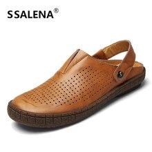 Genuínos Homens de Couro Sandálias de verão Deslizamento Respirável Em Costura Plana Com Sapatos de Causalidade Moda Classcial Sapatos Respirável A866