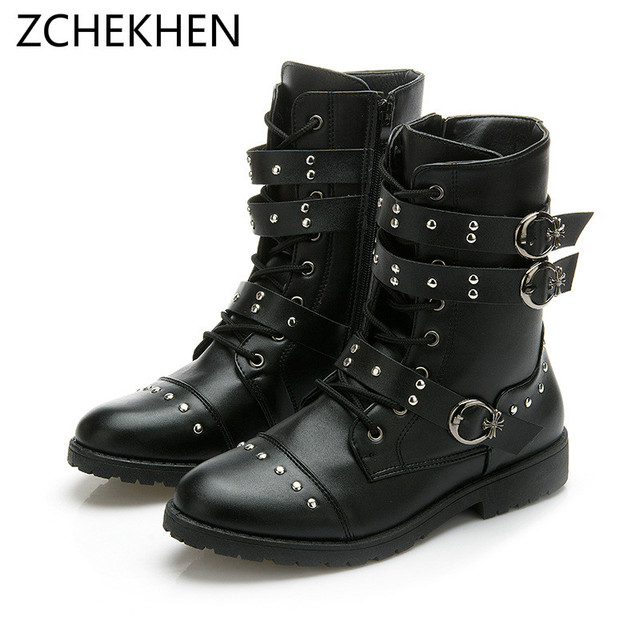 edd4de6aa8e US $50.0 |Autumn Rivet Punk Martin Boots Men Fashion Leather Lace up  Motorcycle Boots Black Vintage High Top Buckle Shoes military boots-in  Motorcycle ...