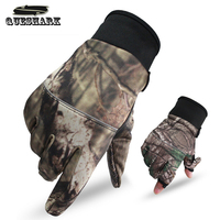 Smalotus 3D Camouflage Ultra Thin Breathable Non Slip Windproof Touchscreen Warm Fleece Outdoor Sports Cycling Gloves