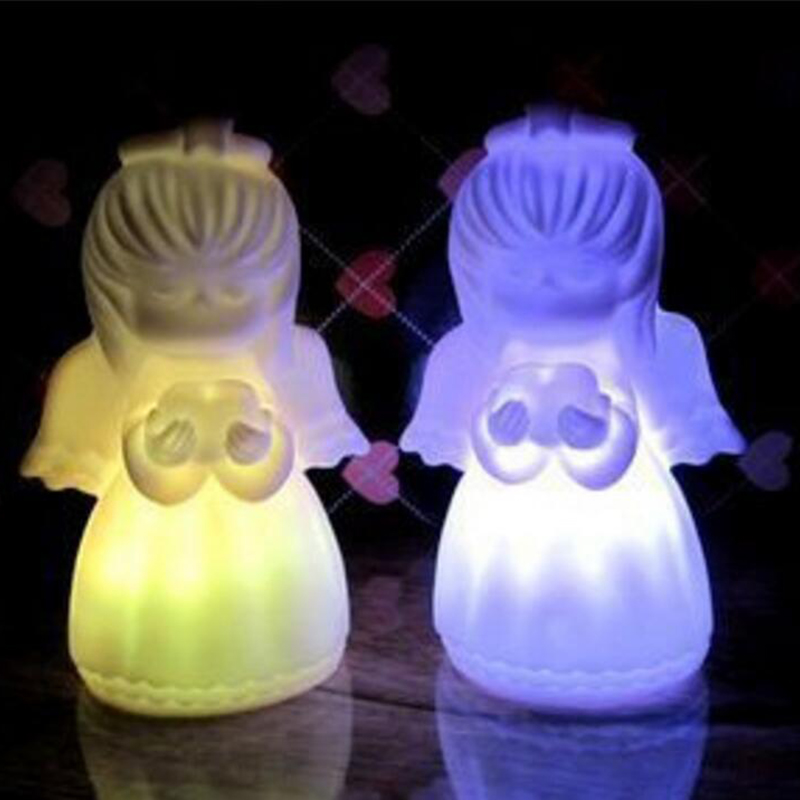 Quadruple 1 Pcs Cute Angel Design Colorful Changing LED Lamp Xmas Decor Night Light Kids Gift Christmas Supplies ...