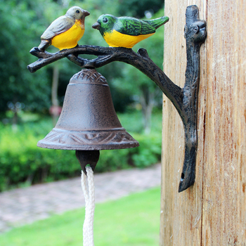 Free shipping Vintage Two Birds on Branch with Color Hand Painted Design Cast Iron Garden Door Decor Wall Welcome Bell