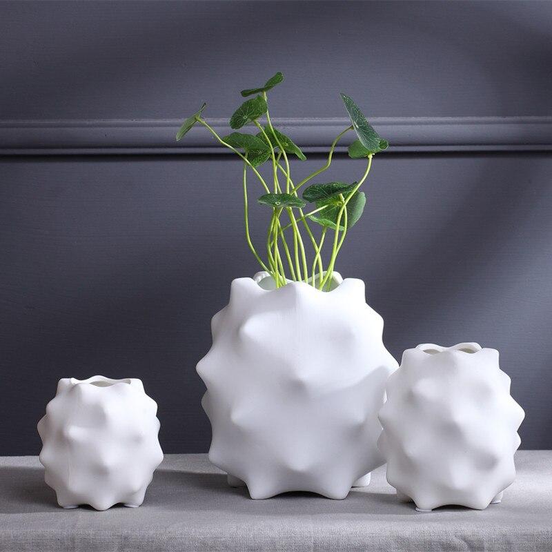 Творческий неровный фарфоровая ваза для цветов современной белой вазе украшения дома аксессуары абстрактная нерегулярные белый керамичес...