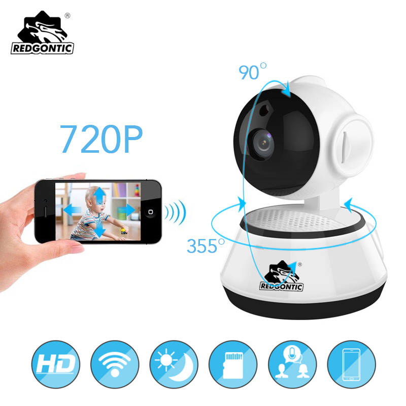 Redgontic Mini WiFi Camera Security IP Camera 720P Wireless WI-FI Audio Record Surveillance Baby Monitor HD Mini CCTV Camera