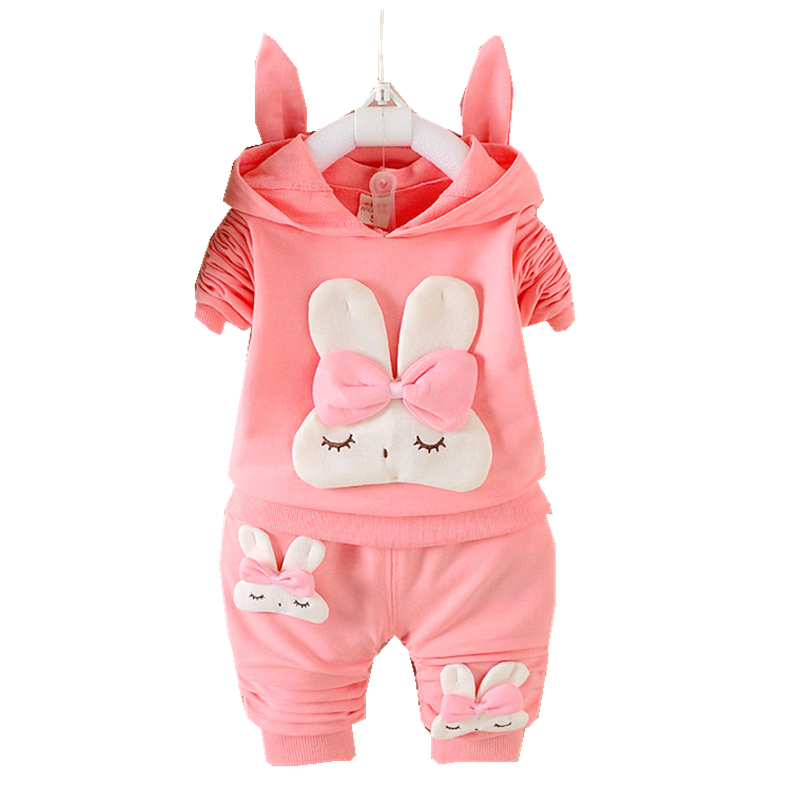 Baby Girls Clothes Set 1-3 Years Old 2017Autumn New Fashion Children Clothing Rabbit Hooded  full Sleeve D023 Baby Girl Clothes