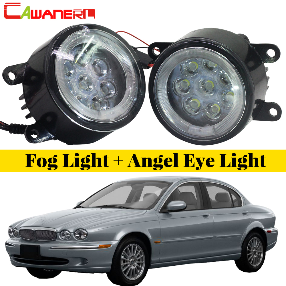 Cawanerl For 2001-2009 Jaguar X-Type (CF1) Saloon Car Styling LED Fog Light Angel Eye DRL Daytime Running Light все цены