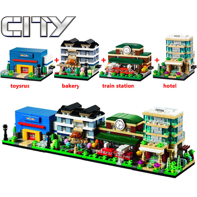 City Series 4pcs/lot Mini Street Scenes View Model Building Blocks Sets Hotel Train Station Bakery DIY Bricks Toys for Children lepin city town city square building blocks sets bricks kids model kids toys for children marvel compatible legoe