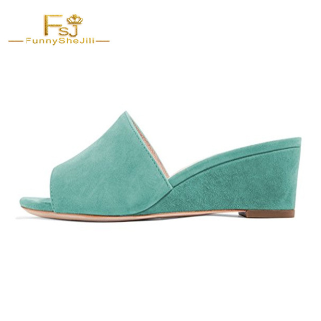 c1af15cc7d FSJ Women Low Heel Wedge Sandals Slip on Mules Peep Toe Shoes for Party  Prom Wedges Blue Green Slippers Outside Flock Size 14