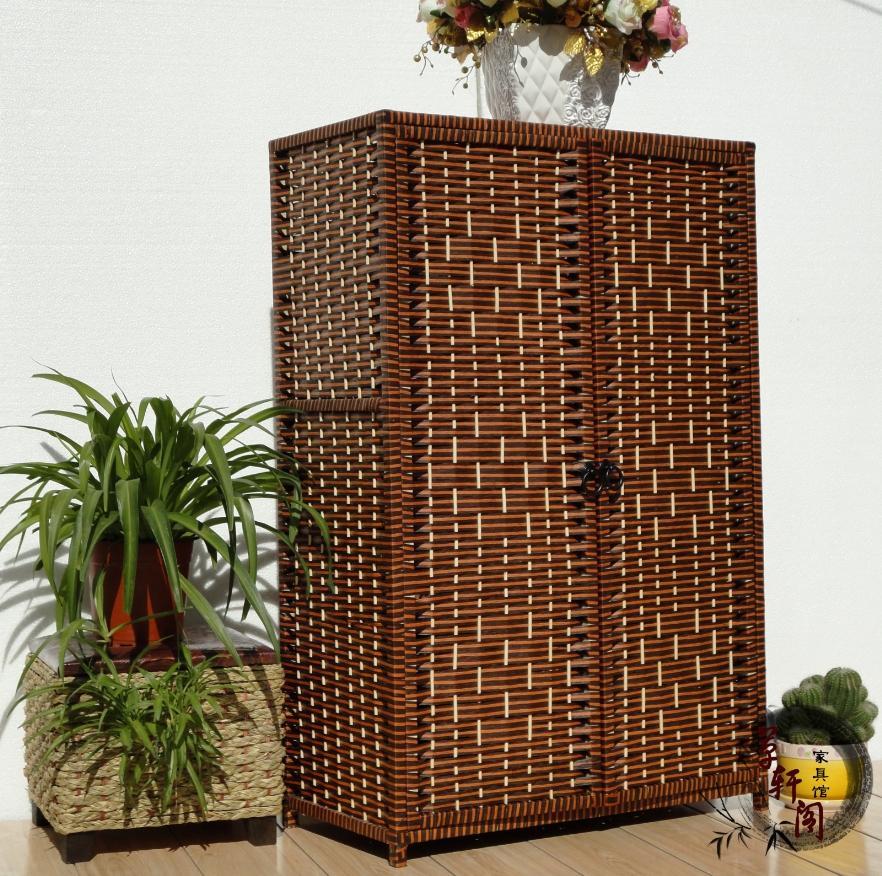 Rustic Rattan Straw Braid Solid Wood Shoe Storage Cabinet