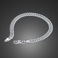 Wholesale high quality men's jewelryt Fashion 100% 925 sterling silver men & boys bracelet Solid silver 6mm 23cm Bracelet gift