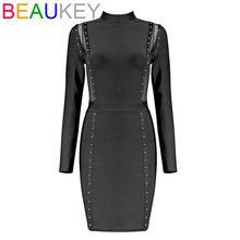 Black Red Solid Long Sleeve Mesh Patchwork Elegant Women's 2017 New Fashion Beading Adorn Bodycon Party Bandage Dress