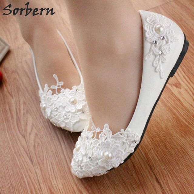 a171d0346898 Sorbern White Flowers Lace Appliques Flat Shoes Women Pointed Toe Slip On Wedding  Shoes For Bridesmaid Girls Lace Wedding Shoes