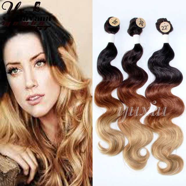 4 Bundles Hair Weave Three Tone Ombre Brazilian Hair Loose Wave