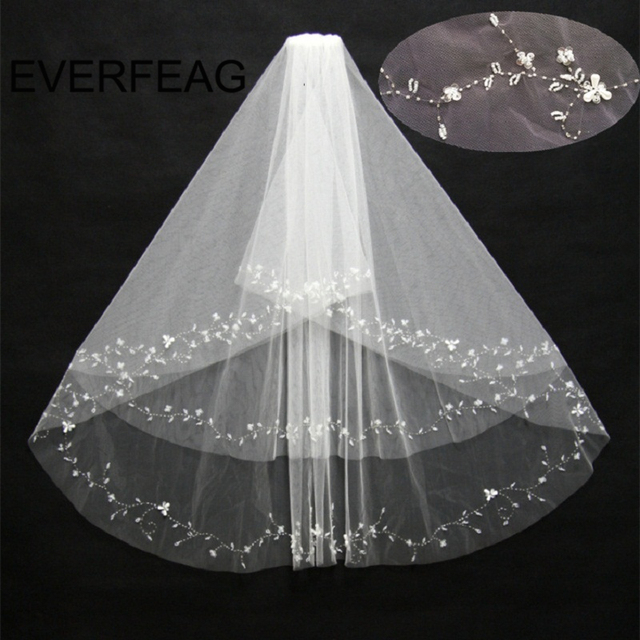 Crystal Beaded Short Wedding Veil Two Layer Bride With Comb Voile De Mariee Accessories