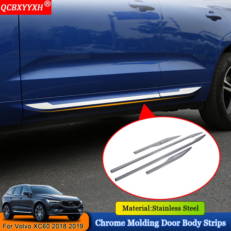 QCBXYYXH Car-styling 4pcs/set Chrome Molding Car Door Body Decoration Strips Sequins Auto Accessories For Volvo XC60 2018 2019